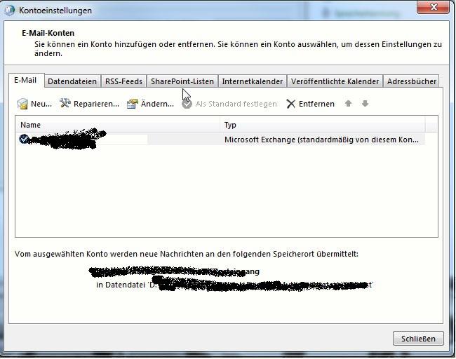 Kontoeinstellungen Email Konten