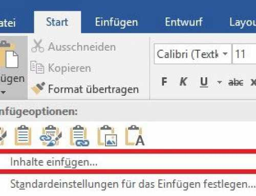 Excel Tabelle in Word 2016 kopieren