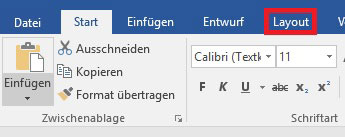Registerkarte Layout in Word 2016