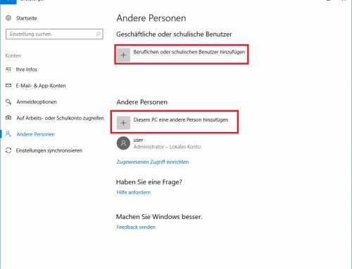 Windows 10 Benutzerkonten hinzufügen