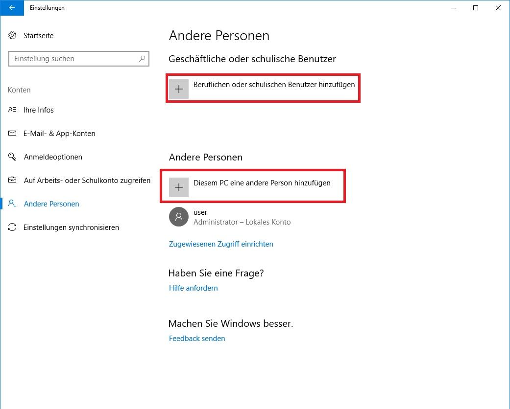 Windows 10 Beruflichen oder schulischen Benutzer hinzufügen