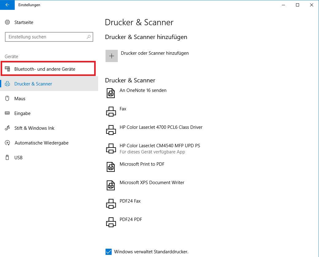 Windows Einstellungen Bluetooth-und andere Geräte