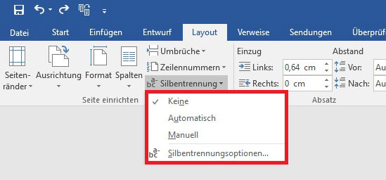 Optionen der Silbentrennung in Word 2016
