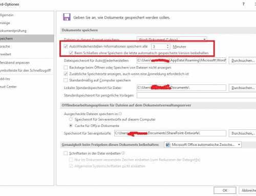 Microsoft Office automatische Zwischenspeicherung