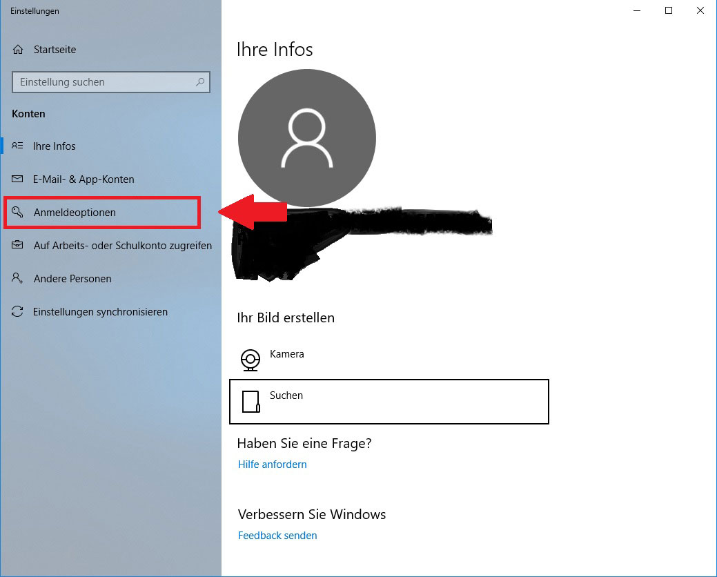 Windows 10 Anmeldeoptionen