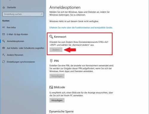 Windows 10 Kennwort ändern