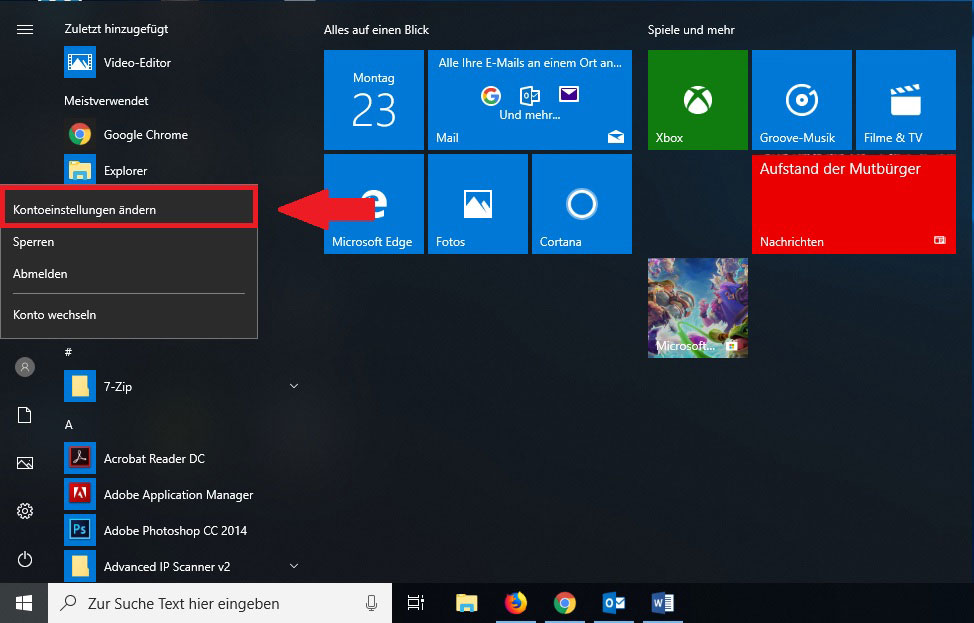 Windows 10 Startmenü Kontoeinstellungen ändern