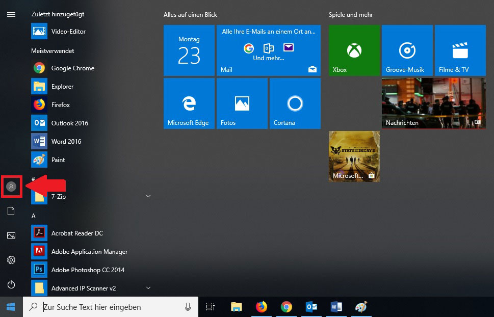 Windows 10 Startmenü Profilbild